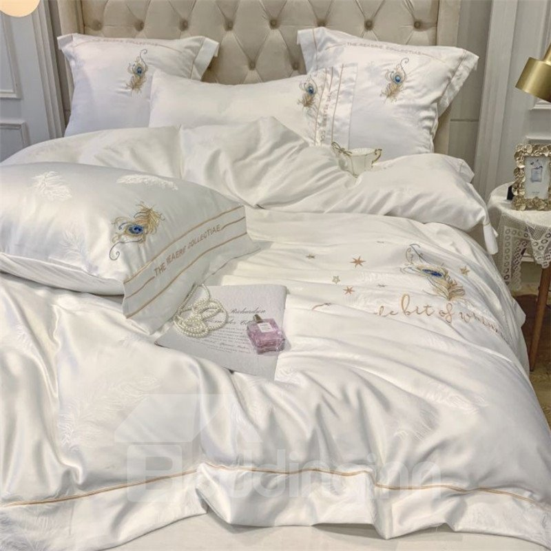Luxurious White Satin Drill Lace Edging 4-Piece Duvet Cover Set