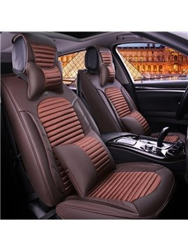 Classic Business Coffee Solid Design Durable PU And Nylon Mixing Universal Five Car Seat Cover