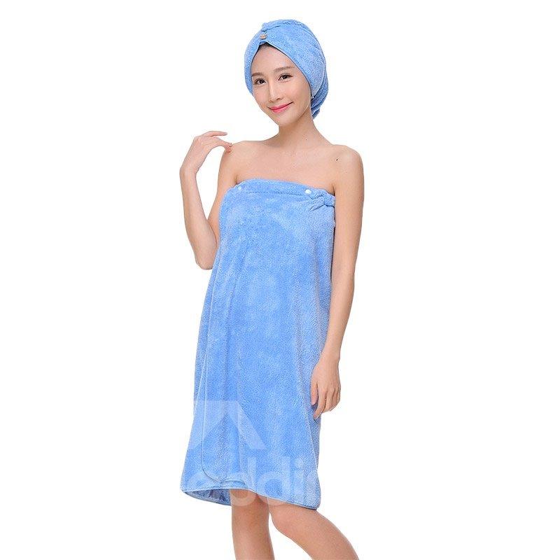Three Colors Pure Cotton Bath Towel Wrap Set for Ladies