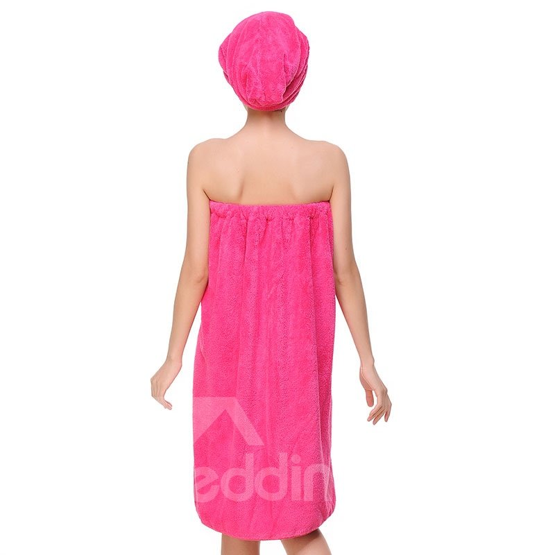 Three Colors Pure Cotton Bath Towel Wrap Set for Ladies