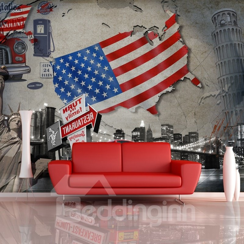 American Stars and Stripes Pattern City Scenery Decoration Waterproof 3D Wall Murals