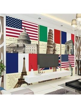 Special Design National Flags Pattern Waterproof 3D Wall Murals