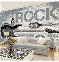 Simple Style Rock Guitar Pattern Design Home Decorative Waterproof 3D Wall Murals