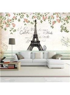Charming Eiffel Tower Paris Scenery Pattern Waterproof 3D Wall Murals