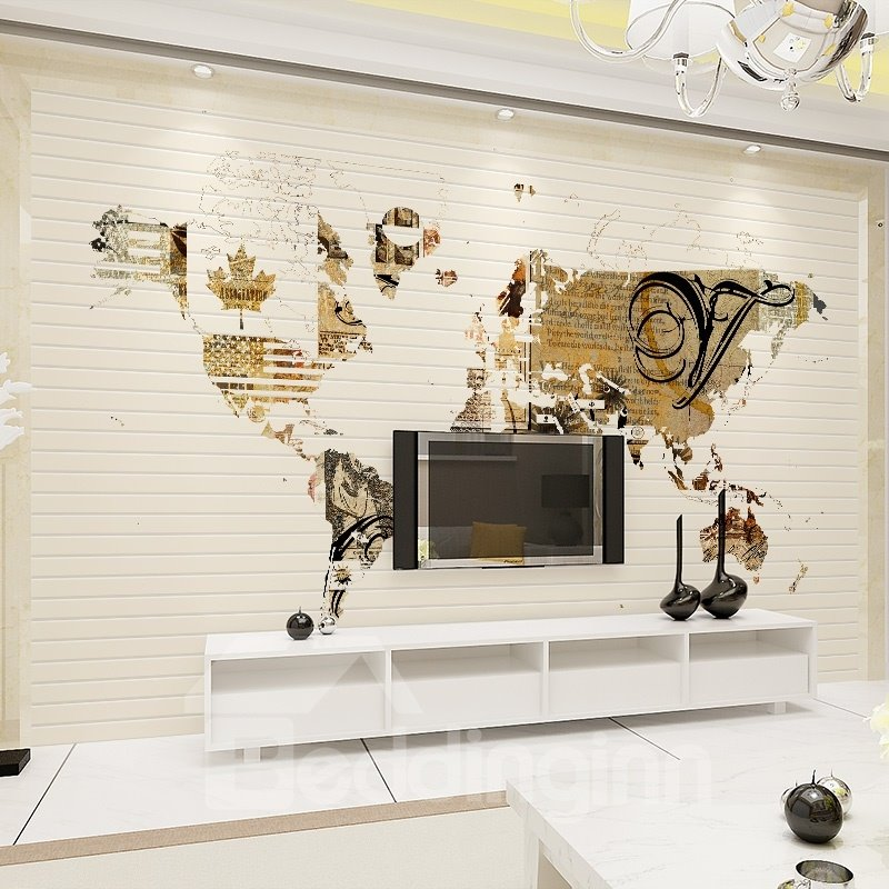 Classic Design World Map Pattern Decorative Waterproof 3D Wall Murals