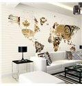 Classic Design World Map Pattern Decorative Waterproof 3D Wall Murals