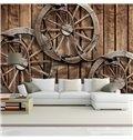 Vintage European Style Wheel Pattern Waterproof 3D Wall Murals