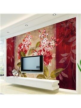 Red Modern Style Flowers Pattern Waterproof Decorative 3D Wall Murals