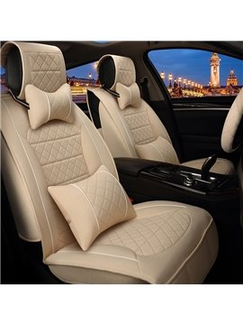 Business Beige Solid Textured High-Grade PET Material Universal Five Car Seat Cover