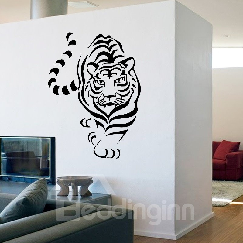 Black Vivid Tiger Pattern Design Decorative Wall Stickers