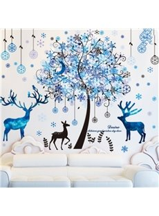 Creative European Style Blue Tree and Deer Pattern Decorative Wall Stickers