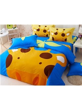 Cartoon Giraffe Pattern 4 Pieces 100% Cotton Duvet Cover Sets