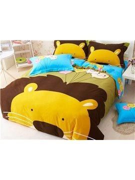 Lovely Lion King Pattern 4 Pieces 100% Cotton Duvet Cover Sets