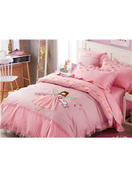 Princess Style Girl Pattern 4 Pieces 100% Cotton Duvet Cover Sets