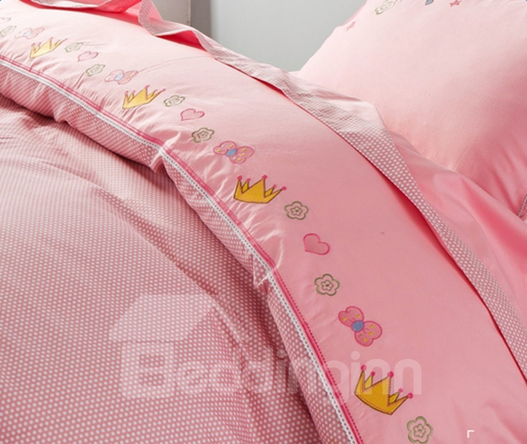 Faerie Pattern Cotton Princess Style 4 Pieces Pink Duvet Covers/Bedding Sets