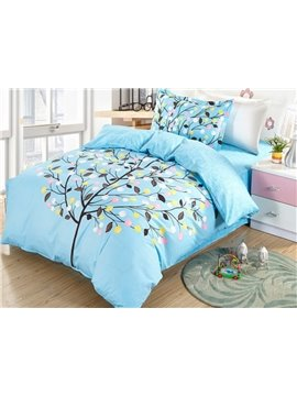 Colorful Tree Pattern 4 Pieces 100% Cotton Duvet Cover Sets
