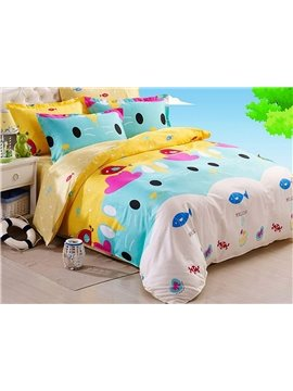 Cartoon Bear Pattern 4 Pieces 100% Cotton Duvet Cover Sets