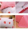 Adorable Strawberry Pattern 4 Pieces 100% Cotton Duvet Cover Sets