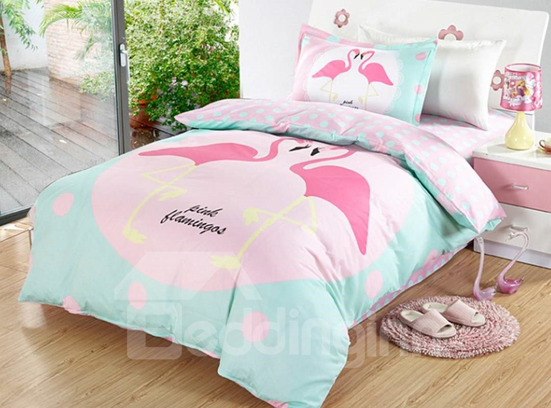 Bright Flamingo Couple Pattern 3 Pieces 100 Cotton Duvet