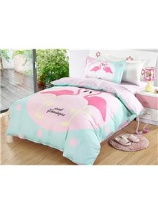 Bright Flamingo Couple Pattern 3 Pieces 100% Cotton Duvet Cover Sets