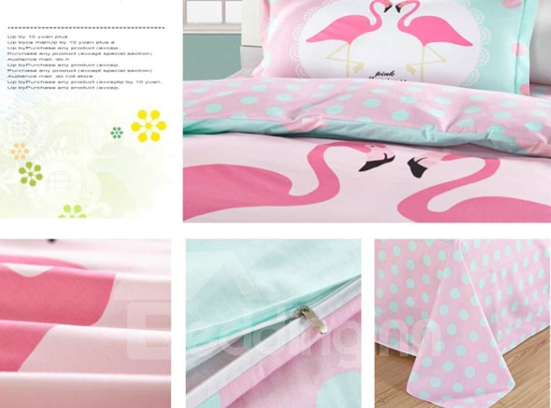 Bright Flamingo Couple Pattern 3 Pieces 100% Cotton Duvet Cover Sets