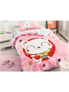 Pretty Cartoon Cat Pattern 3 Pieces 100% Cotton Duvet Cover Sets