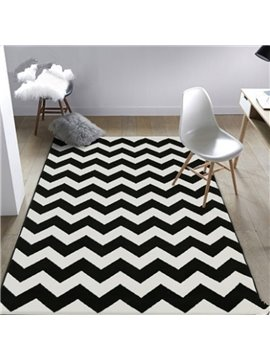 White and Black Simple Style Strips Pattern Rectangle Washable Area Rug