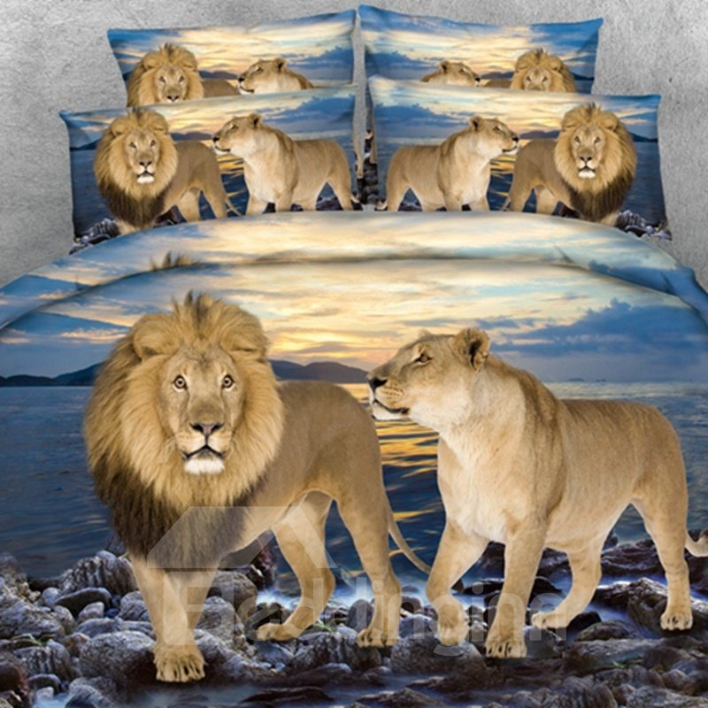 Lion Couple and Blue Ocean Print 2-Piece Pillow Cases