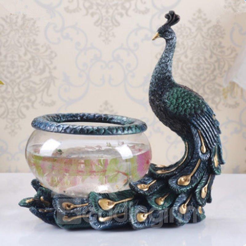 Dark Blue Resin and Glasses Peacock Shape Fish Bowl Desktop Decoration