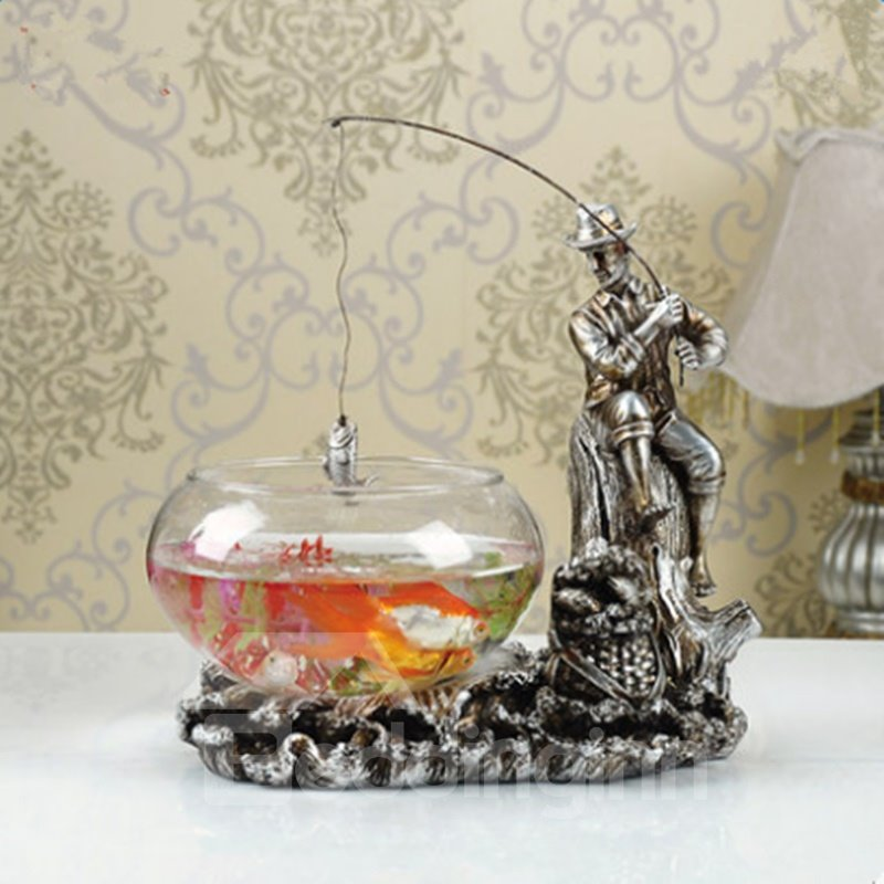 Fancy Design Fishing Cowboy Shape Fish Bowl Desktop Decoration