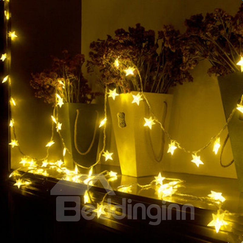 Bright Warm White Stars Shape Design 19.7 Feet Battery LED String Lights