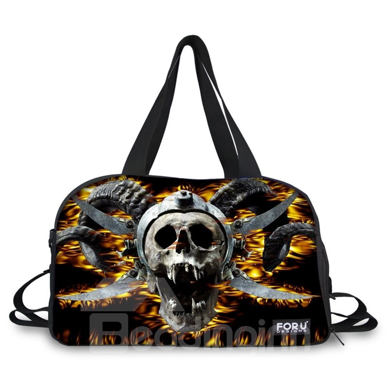 Special Fire Skull Pattern 3D Painted Travel Bag