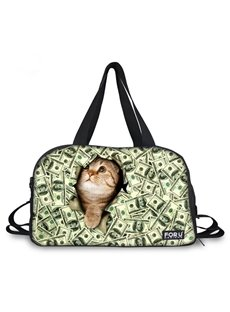 Adorable Cat with Dollars Pattern 3D Painted Travel Bag