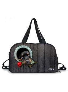 Creative Dog with Rose Pattern 3D Painted Travel Bag