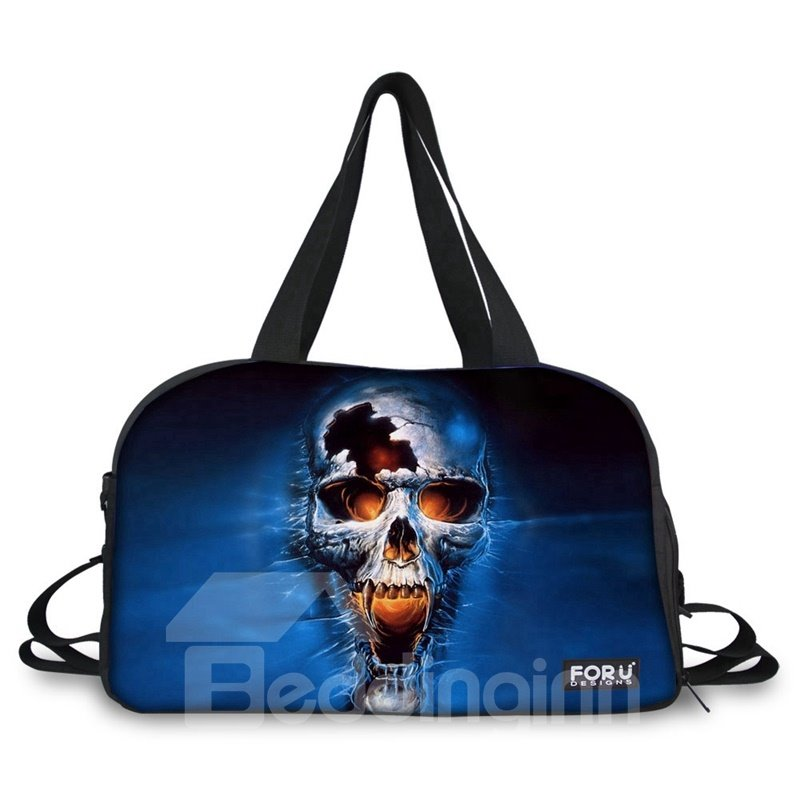 Fashion Blue Skull Pattern 3D Painted Travel Bag