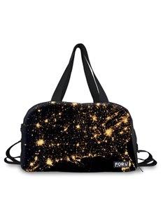 Shining Stars Pattern Black 3D Painted Travel Bag