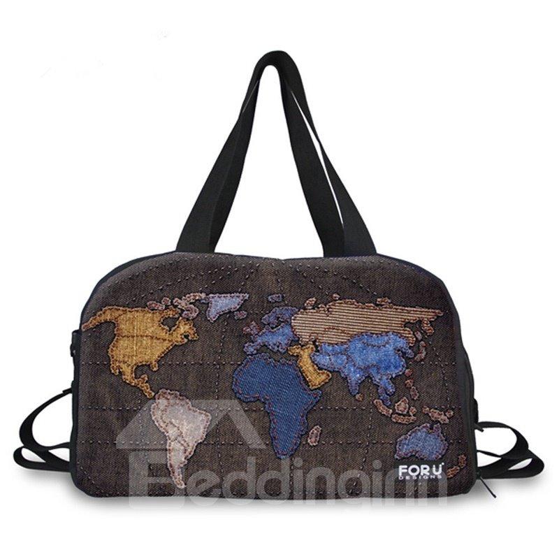 Vintage World Map Pattern 3D Painted Travel Bag