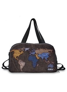 Vintage World Map Pattern 3D Painted Travel Bag