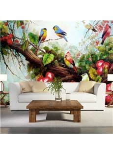Natural Birds Standing on the Tree Forest Scenery Pattern Waterproof 3D Wall Murals