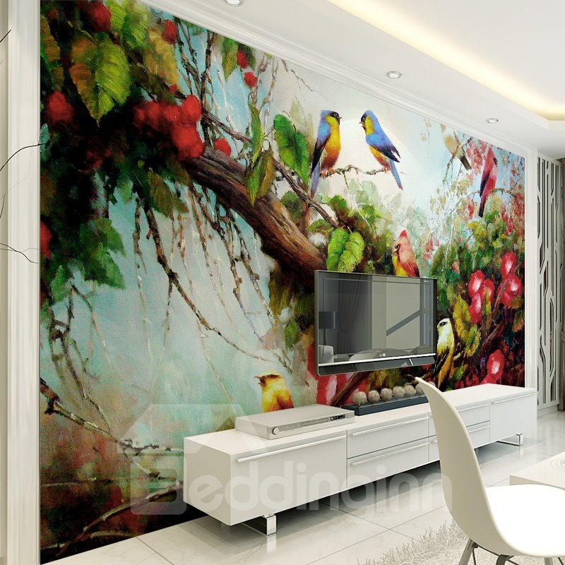 Birds on tree and flowers pattern pvc waterproof and for 3d murals for sale