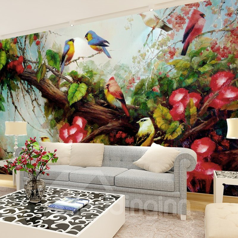 Birds on Tree and Flowers Pattern PVC Waterproof and Durable 3D Wall Murals