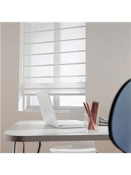 Concise White Sheer Flat-Shaped Custom Roman Shades