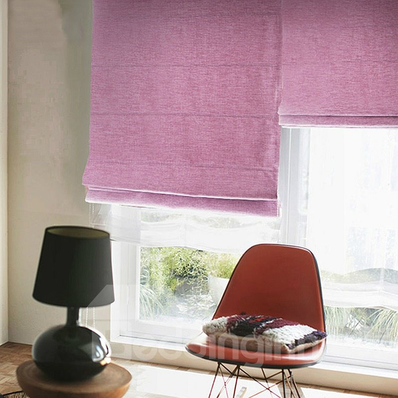 Concise Pink Blackout Flat-Shaped Roman Shades