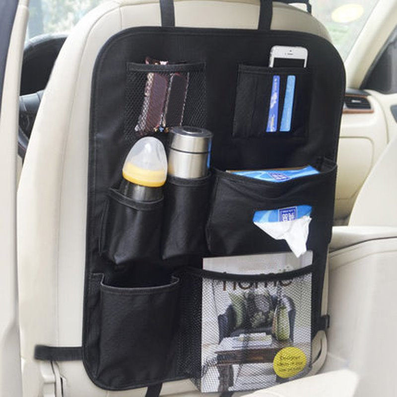 Cost-Effective Enough Capacity Multiple Pockets Microfiber Leather Material Car Backseat Organizer