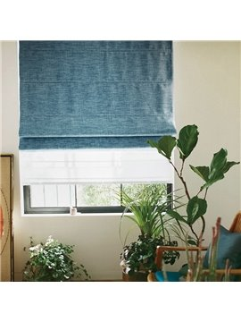 Concise Sea Blue Blackout Flat-Shaped Roman Shades