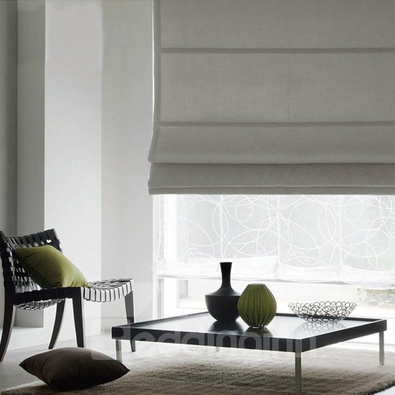 Concise Grey Blackout Flat-Shaped Roman Shades