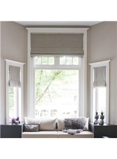 Solid Color Beige Cotton and Linen Blending Flat-Shaped Roman Shades