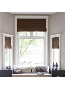 Solid Light Coffee Color Cotton and Linen Blending Flat-Shaped Roman Shades