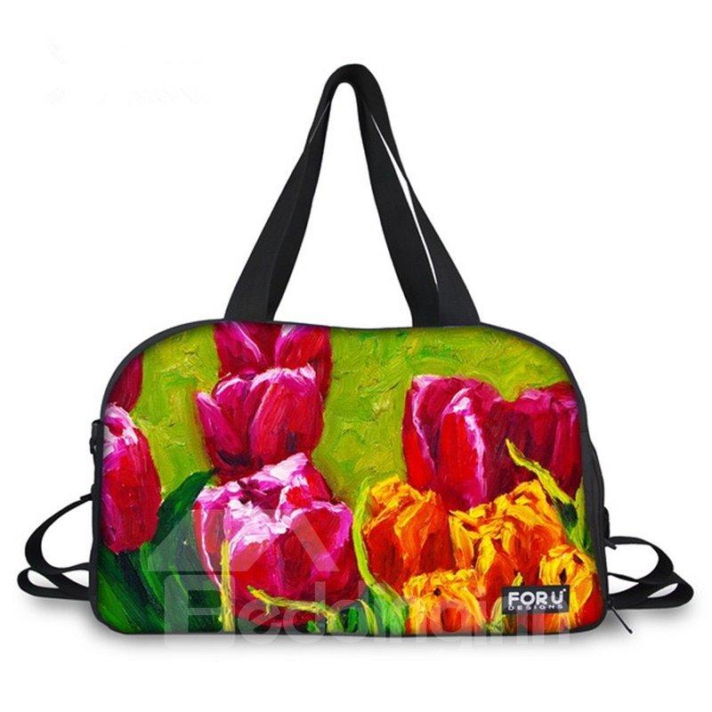 Beautiful Tulip Pattern 3D Painted Travel Bag