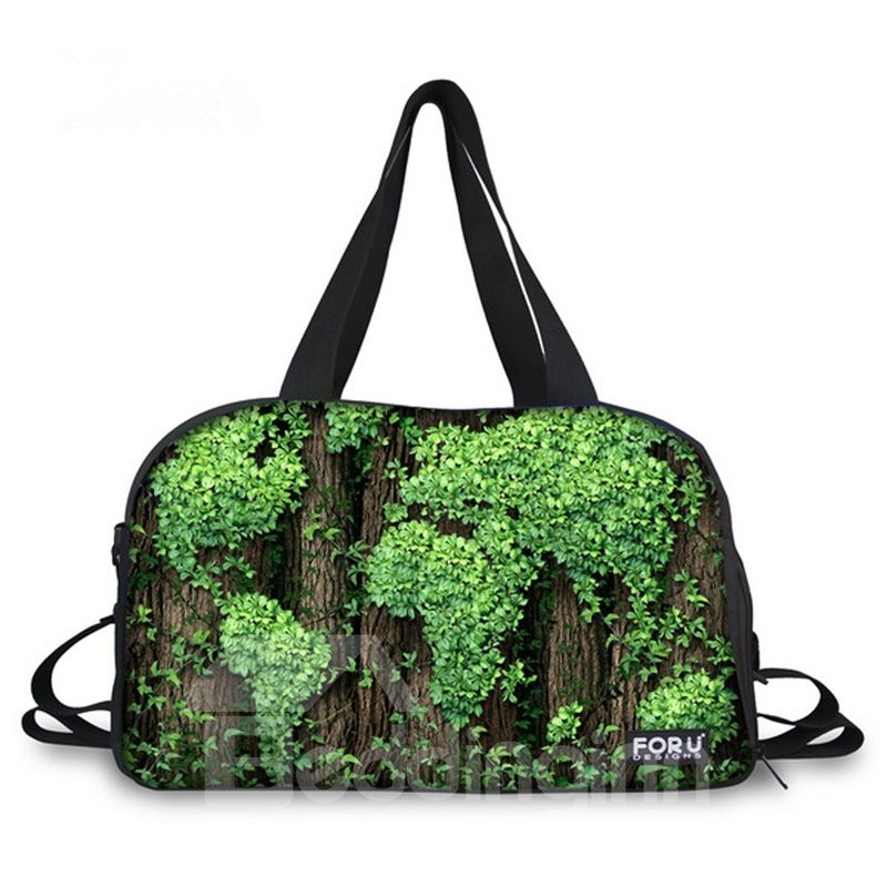 Unique Plant World Map Pattern 3D Painted Travel Bag